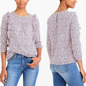 J Crew Mercantile NWT printed ruffle-front top